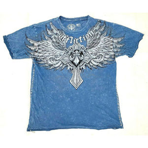 Affliction mens Blue Distressed Graphic Tee XXL